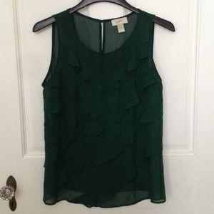 LOFT sheer dark green ruffle blouse size medium